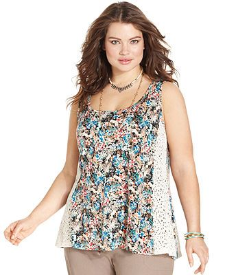 American Rag Plus Size Sleeveless Printed Lace Top