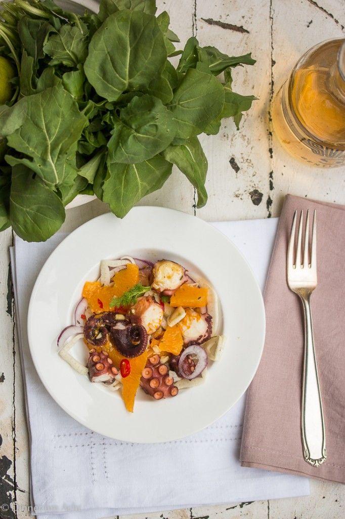 Pulpo-Salat mit Fenchel, Orangen, Ingwer und Kreuzkümmel