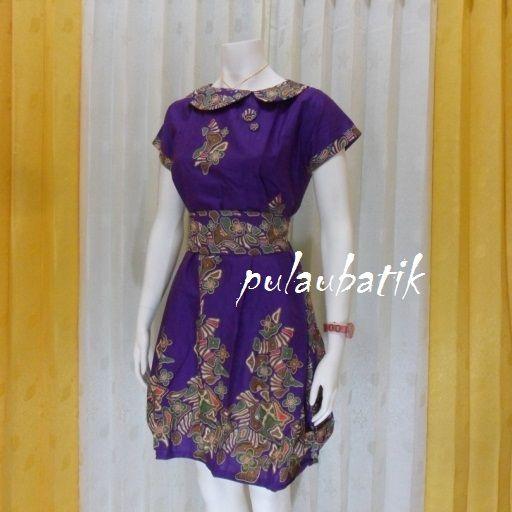 DRESS BATIK CANTIK MURAH DB173 grosir pakaian wanita online dengan koleksi terbaru model baju dress batik warna ungu yang sangat bagusa dan modis http://pulaubatik.com/category/dress-batik/