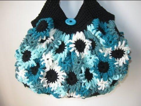 Crochet Flower Purse Tutorial 1 - Making the Flowers - YouTube