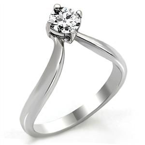 WEEKEND DEALS ENDS ON SUNDAY! IT IS ONLY $6.49! PROMISE RING - Stainless Steel Twist Style Round Cut CZ Ring
