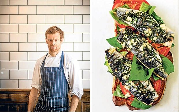 Tom Aikens; right, his sardines dish