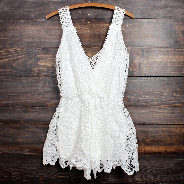 Desert wanderer crochet lace romper in white