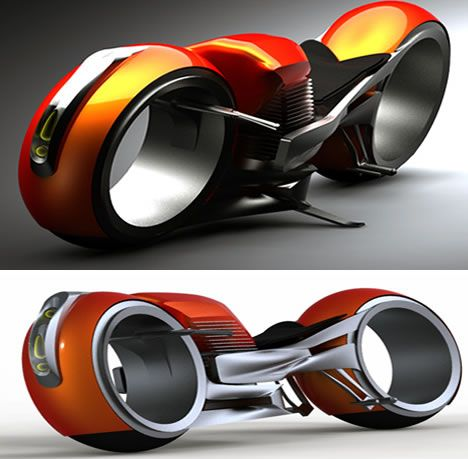 Will the Harley Davidson Hog of the future resembles this beast? Designer Miguel Cotto believes so. The large 883cc engine is coupled with a Tron-like body.