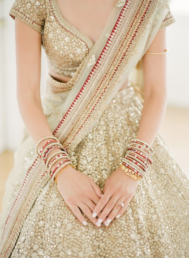Gold beaded wedding dress: http://www.stylemepretty.com/2017/02/09/unique-modern-indian-wedding/ Photography: Twah Dougherty - http://twahdougherty.com/
