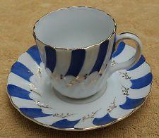 UCAGCO CHINA OCCUPIED JAPAN BLUE & WHITE DEMITASSE CUP & SAUCER SET GOLD TRIM: