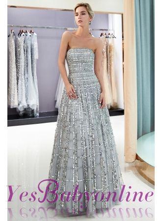 8410a46e1846e Elegant A-Line Sequins Strapless Floor Length Prom Dress | Evening Dresses