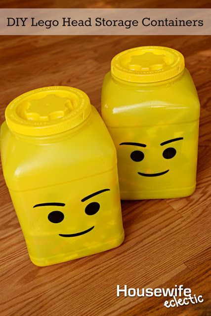 DIY Lego Head Storage Containers from Laundry Detergent Containers: