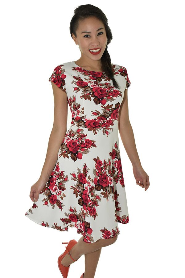 PSL Floral Fit and Flare in Rose Floral
