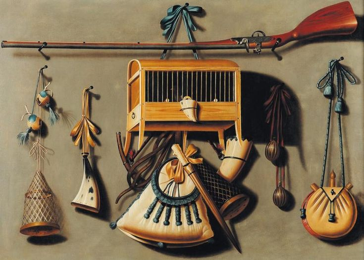 JOHANNES #LEEMANS Trompe l'oeil avec les accessoires de la #chasse toile. signé et daté en bas à gauche J. Leemans / 1679. H_94 cm l_123 cm avec son frère anthonie, Johannes leemans se spécialise à la Haye dans la peinture de trompe-l'oeil aux instruments de chasse, la chasse étant très populaire en Hollande dans la deuxième moitié du XVIIe siècle. Vendu aux #encheres le 31/05/11 par Pierre Bergé & Associés.