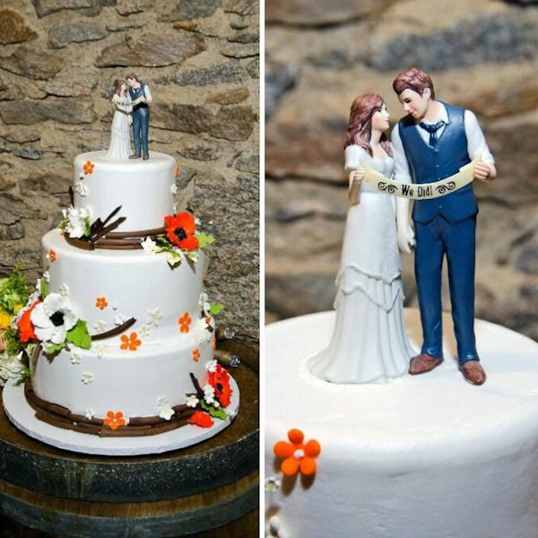 Indie Style Wedding Couple Cake Topper Color Options