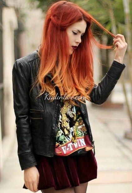 Kızıl Ombre Saç Rengi 2016 Modelleri - Kadinlive.com