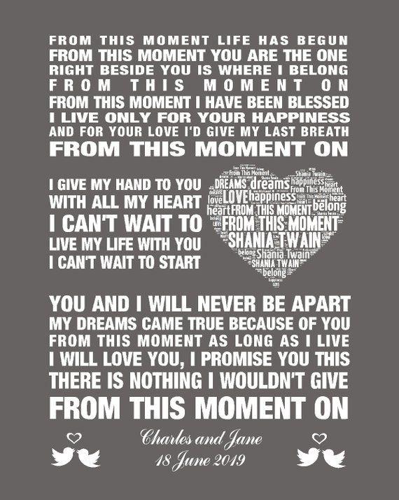 Lirik From This Moment : lirik, moment, Shania, Twain, Moment, Lyrics, Cute766
