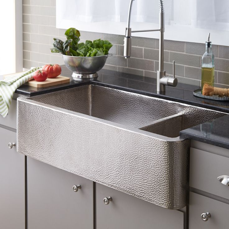Farmhouse Duet Pro Hammered Copper Kitchen Sink In Brushed Nickel By Native Trails.