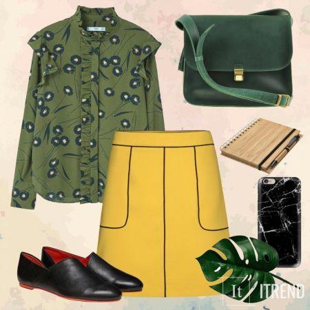 Этот, на первый взгляд, классический образ (блуза+юбка) является повседневным и комфортным, а также сочетает в себе несколько трендов сезона: флорал принт, ярко-желтый, рюши.