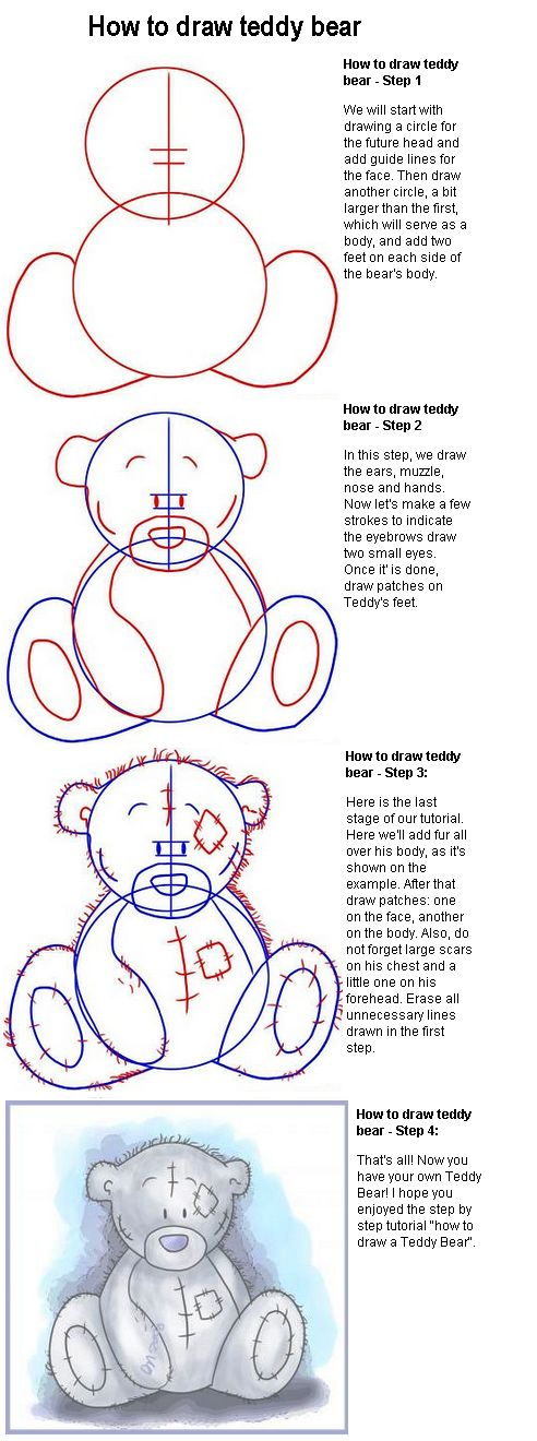How to draw a teddy bear. This really works, I tried. Don't forget to add…