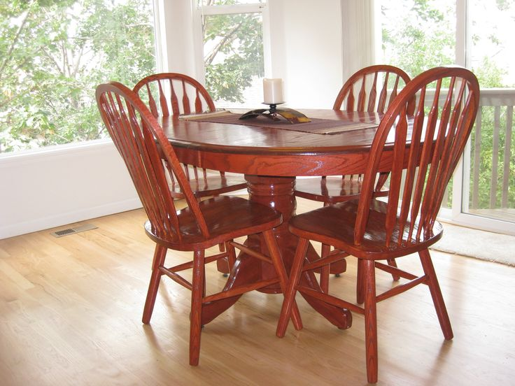 Refinished Shin Lee Oak 5 Piece Dining Set With Leaf. American White Oak  Extending Dining Room Table With Chars. It Has Been Newly Re Finished And  Stained ... Part 64