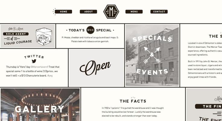 Mercer Tavern  http://mercertavern.com/  Beautiful Flat Web Design  Logo centered