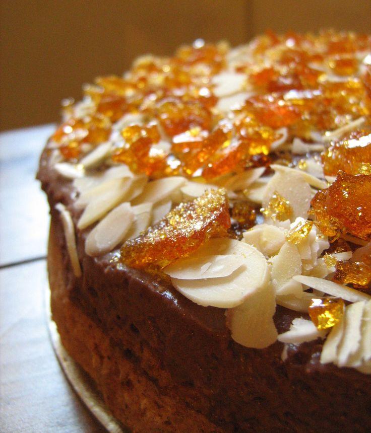coffee caramel almond cake