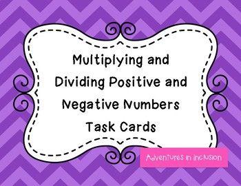 Multiplying & Dividing Positive & Negative Numbers Task Cards