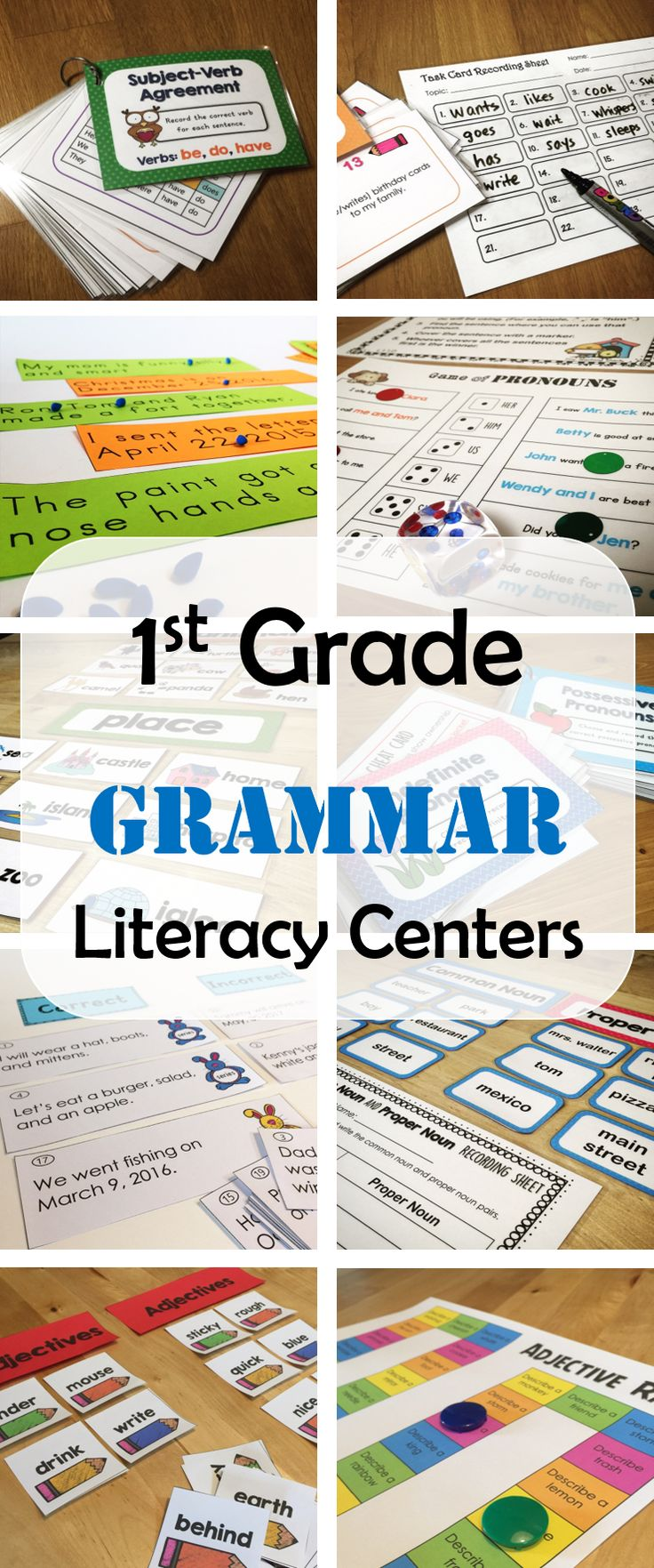 first grade Common Core Language- grammar literacy centers