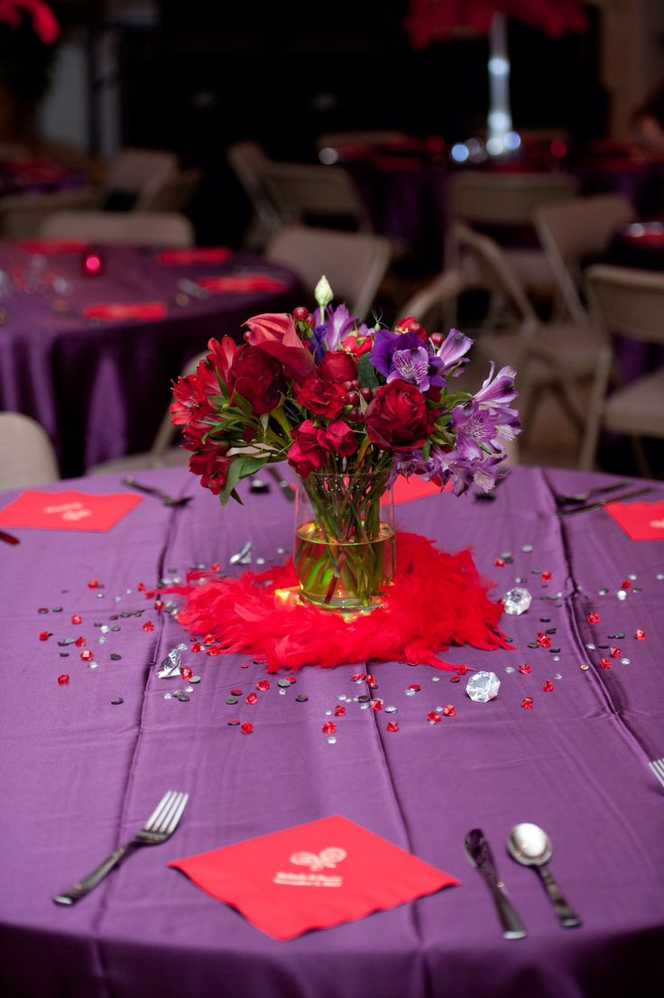 Red and purple wedding recption decorations