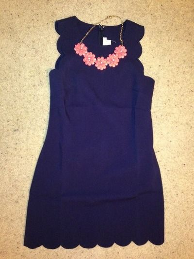 J Crew Scalloped Dress and Necklace.