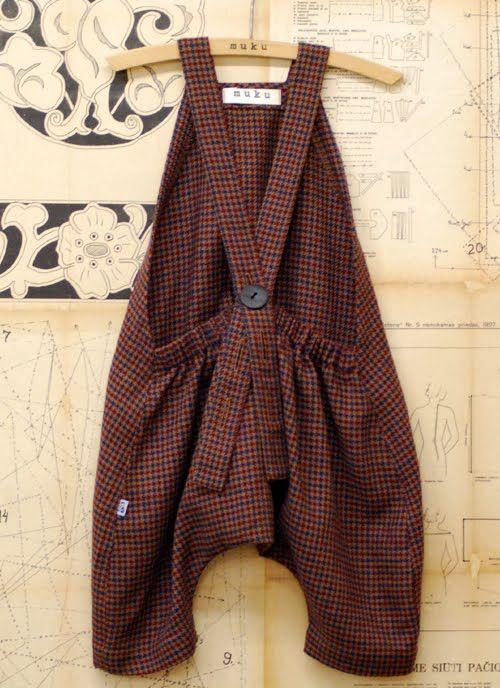 muku: Brown check wool playsuit