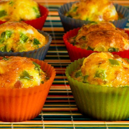"""Egg """"Muffins"""" with Ham, Cheese, and Green Bell Pepper"""