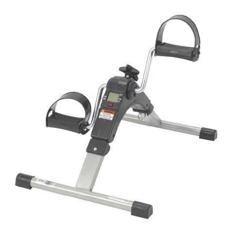 Drive Medical Deluxe Folding Exercise Peddler Press and hold the red MODE button for 4 seconds when first operating. Five function display indicates exercise time, revolution count, revolutions per minute (rpm) and calories burned