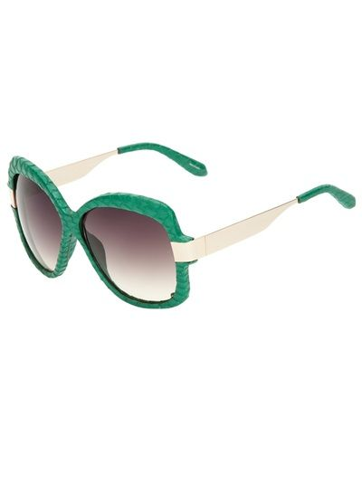 I love the green!     LINDA FARROW LUXE Snakeskin Wrapped Sunglasses