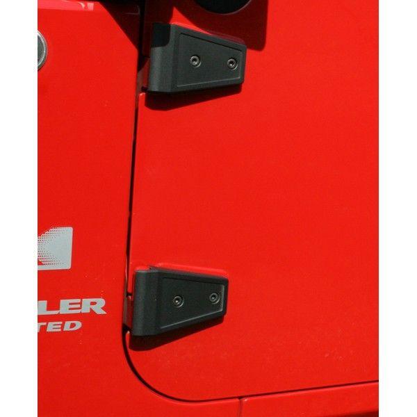 Hinge Cover Set, Textured Black; 07-16 Jeep Wrangler JK