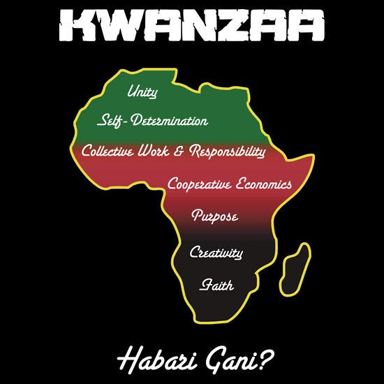 "Kwanzaa T-shirt by Samuel Sheats on Redbubble listing the 7 basic principles of Kwanzaa. ""Habari Gani?"" is the traditional Swahili greeting during Kwanzaa that means, ""What's the news?"". #kwanzaa #africanamerican"