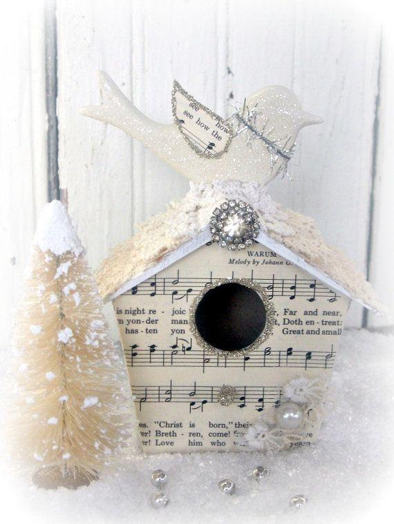 Christmas Decor-Bird House-Shabby-Vintage Inspired