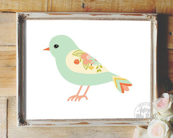 This ★ Bird ★ print nursery art makes great nursery wall decor for a baby girl nursery. Nursery printable art also makes a great baby shower gift. …