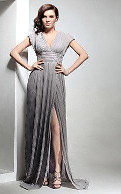 Chiffon Sheath/ Column V-neck Sweep/Brush Train Evening Dress inspired by Mila Kunis