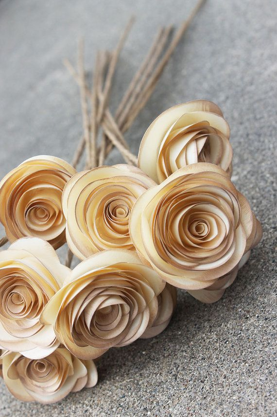 Rustic Distressed Paper Flower Bouquet for Weddings - Vintage - Bridal Shower - Baby Shower - Gift - Party on Etsy, $23.50