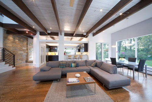Split Level Remodel Exposed Beams Home Inspiration