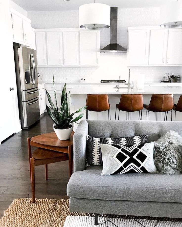 Gray Brown White And Black Open Concept Living Room Kitchen Kitchendesign Kitchen Living Room Grey Home Minimalist Living Room