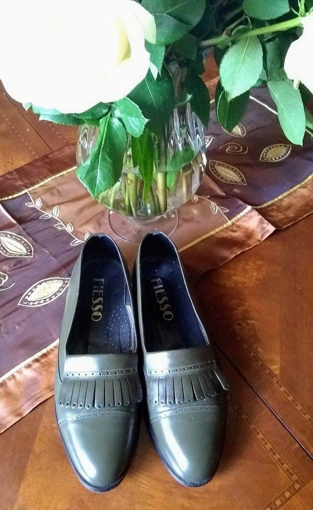 FIESSO Tassel Formal Leather Shoes Point Toe Loafer Slip-on Size 11 Olive green #Fiesso #LoafersSlipOns #Formal