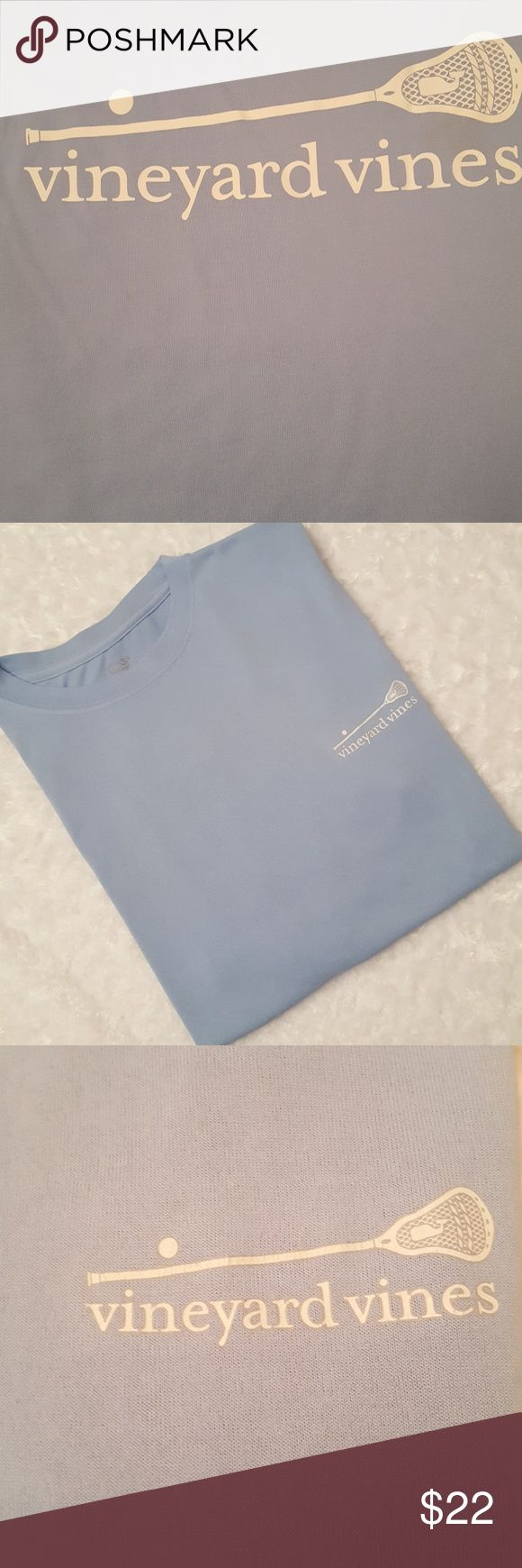 Men's lacrosse Vineyard Vines performance t-shirt! This t-shirt is light blue Vineyard Vines lacrosse performance short sleeved shirt made of 100% polyester. It has light signs of wear and is in guc! Vineyard Vines Shirts Tees - Short Sleeve