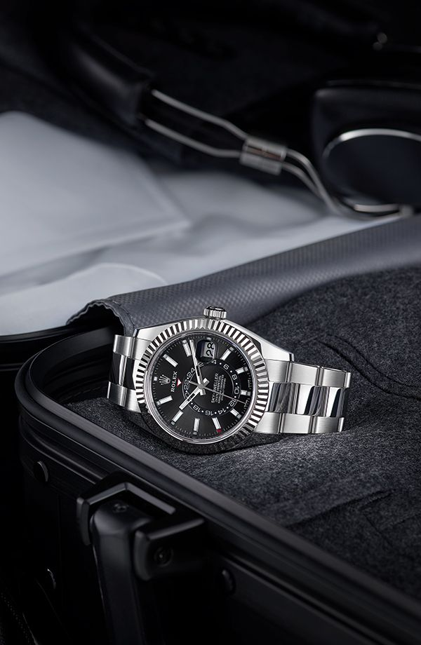 When Regularly Travelling Across Time Zones The Black Dial Rolex Sky Dweller In Oystersteel And 18ct Whit Luxury Watches For Men Watches For Men Rolex Watches