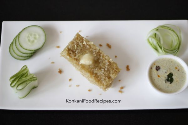 Sweet Cucumber Idlis For Breakfast. (Thoushe Muddo In Konkani)  Sweet cucumber steamed rice cakes & a spicy coconut chutney are a delicious Konkani cuisine breakfast combo. They're easy to make & can be put together in 25 minutes. Serve them hot with a big dollop of ghee on top! Recipe from KonkaniFoodRecipes.com