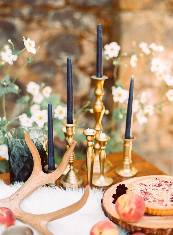 Buy thrifted candle sticks and spray paint/paint gold   Bohemian jewel toned wedding inspiration | Photo by Danielle Poff Photography | Read more -  http://www.100layercake.com/blog/?p=81721