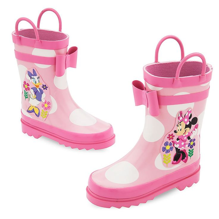 Disney Minnie Mouse and Daisy Rain Boots for Kids Size 6 TODDLER Pink. Genuine, Original, Authentic Disney Store. Minnie Mouse and Daisy Duck screen art. Raised accents. Pull on handles. Removable cushion insole.