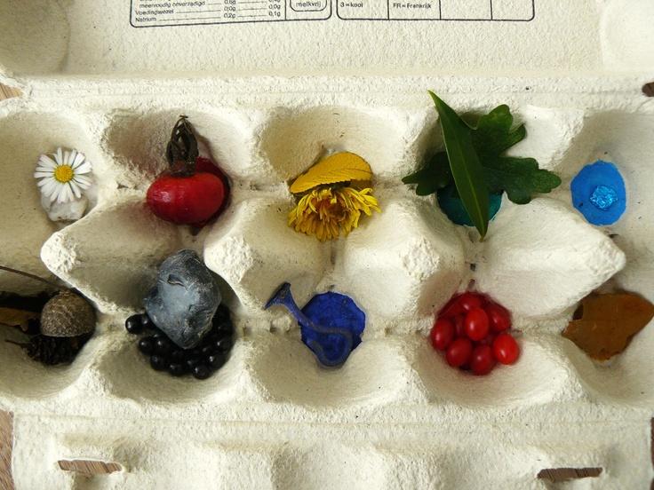 Een kleurenwandeling :-)   Nadat elk eierdopje een eigen kleur  heeft gekregen, gaan we in de natuur op zoek naar dingen die dezelfde kleur hebben, groene blaadjes, rode besjes, blauwe bloemen, enz. Spelenderwijs leren we zo alle kleuren herkennen.