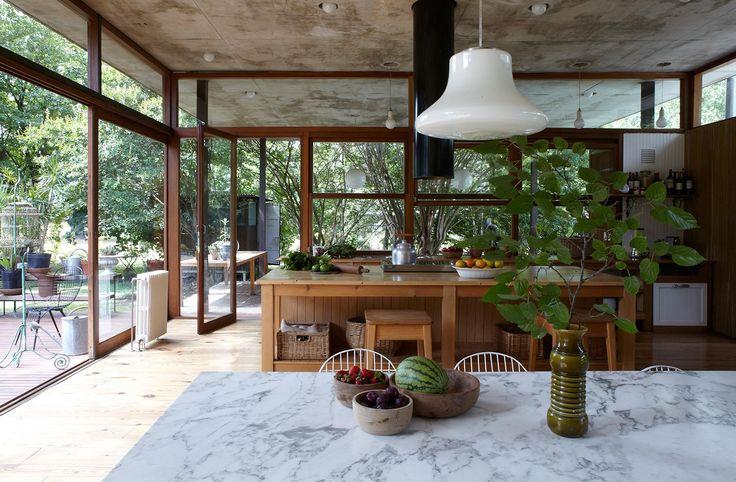 glass-walled kitchen
