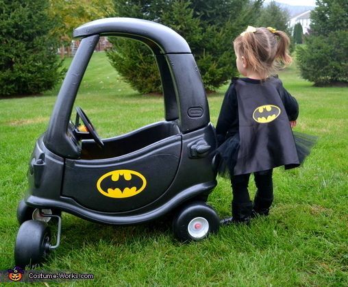 Batgirl and her Batmobile Baby Halloween Costume Idea