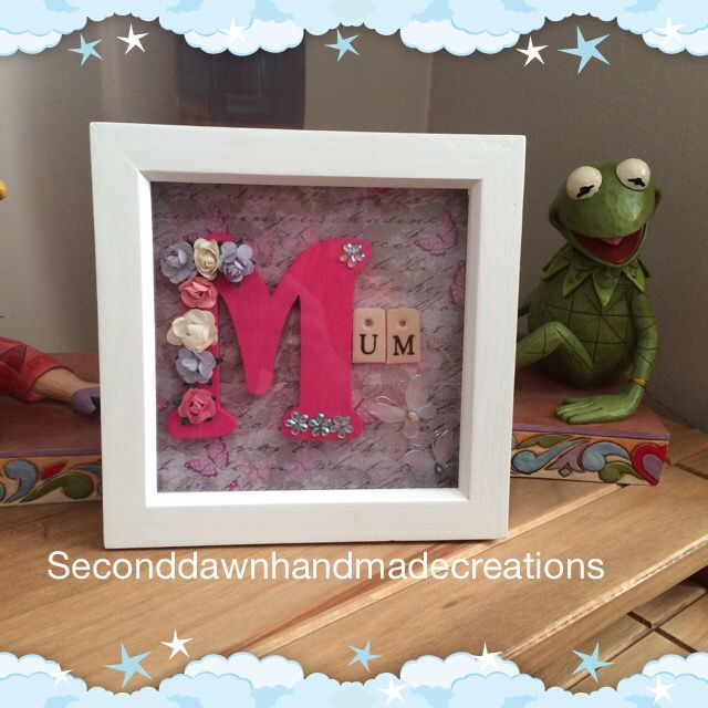 Mum block frame can be made in any colour this one is pink with pink and lilac roses set off with scrabble tiles and white wired butterflies 6x6