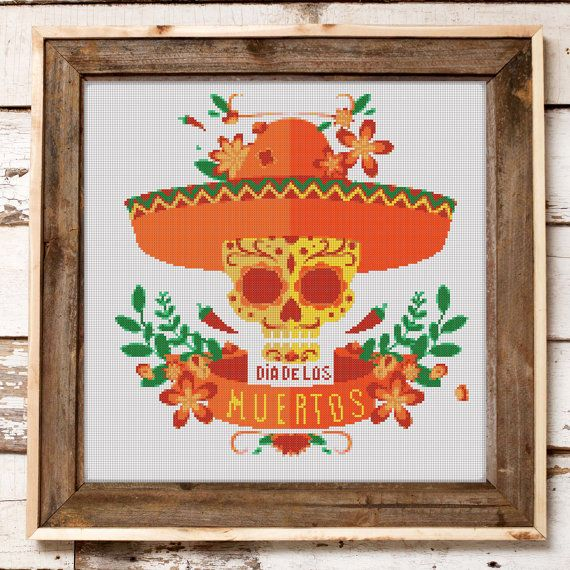 Cross Stitch Pattern Mexican Halloween Skull // por StitchWonder